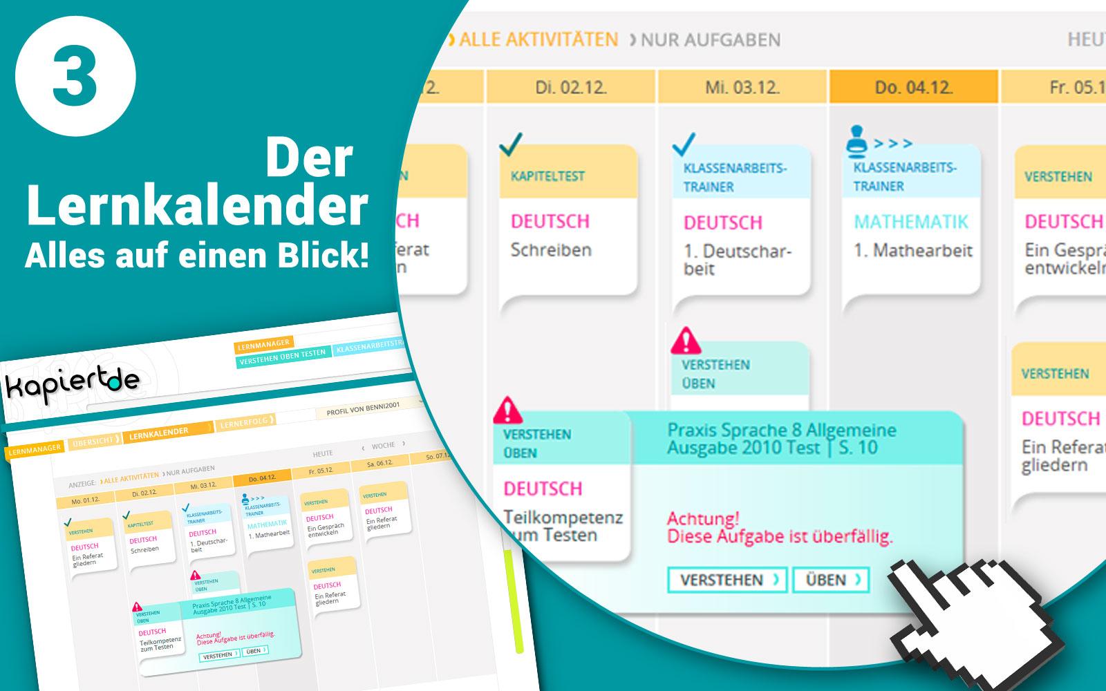 Screenshot kapiert.de Lernmanager Lernkalender