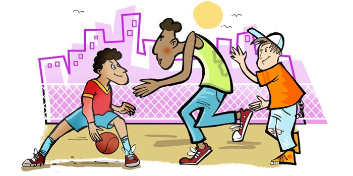 verlaufsform englisch basketball - Bildbeschreibung Englisch Beispiel