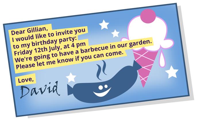 Eine Einladung/Postkarte Schreiben